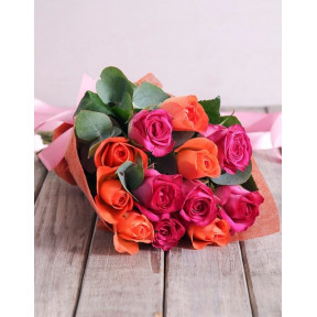 Sunset Rose Bouquet (12 Roses)