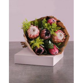 Protea Mix Bouquet In Craft Wrapping