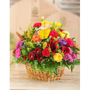 Bright Country Flowers In A Basket (Small)
