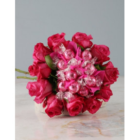 Pink Rose And Lindt Bouquet (Standard)