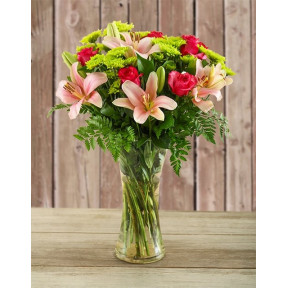Pretty In Pink Lilies And Cerise Roses In A Vase (Small)