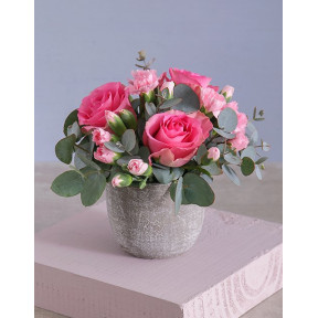 Trio Of Pink Roses In Cement Pot