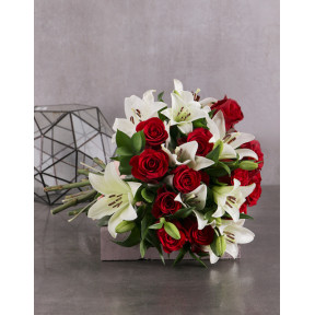 Red Rose And White Lily Bouquet (Standard)