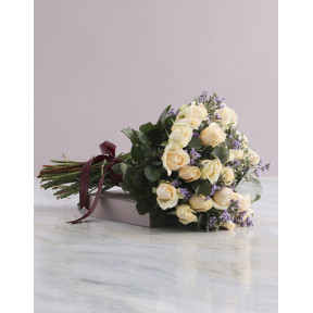 Cream Rose And Burgundy Ribbon Bouquet (Small)