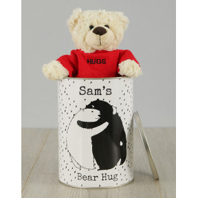 Personalised Bear Hug Teddy Tin
