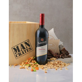 Red Wine Biltong & Nuts in a Man Crate Box