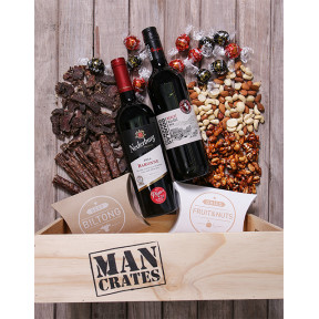Snack and Wine Filled Man Crate
