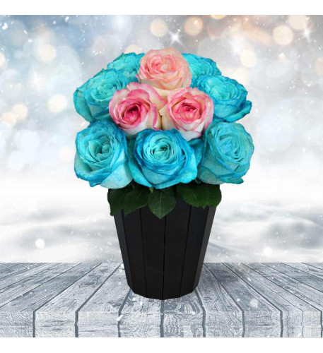 Bouquet Of Roses And Blue Color (7 Branches)