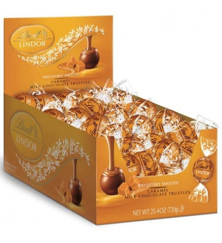 Caramel Milk Chocolate Lindor Truffles Box (60-Pc, 25.4 Oz)