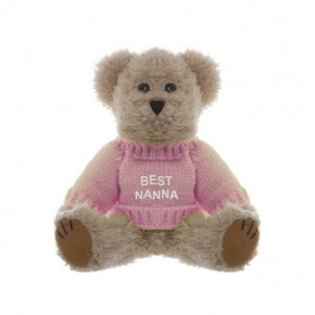 Teddy Bear Message Best Nanna Pink Jumper (20cmht)
