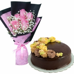 6 Pink Roses with Chocolate Message Cake By Max's