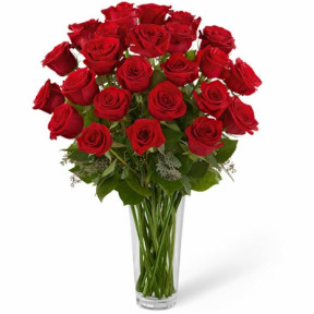 24 Stems Red Roses In Glass Vase