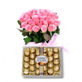24 Pink Roses with 24 pcs Ferrero