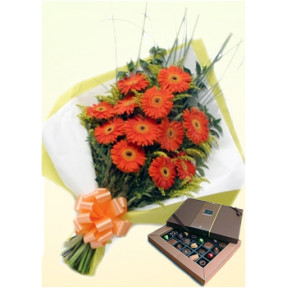 Orange Beauty (24 Gerbera Daises + Chocolatesus)