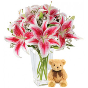 Special Occasion (6 Lily Stems + Teddy Bearus)