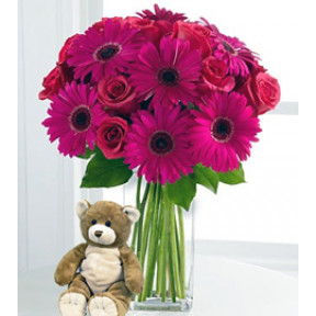 Eventhough You're Far Away (12 Roses + 3 Gerbera Daises + Teddy Bearus)