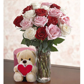 My Heart (12 Roses + Romantic Teddy Bear)