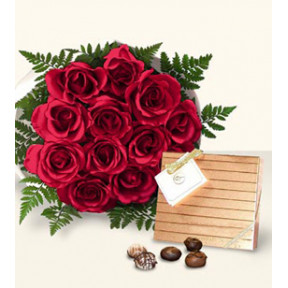 Roses Of Love (12 Roses + Chocolates)