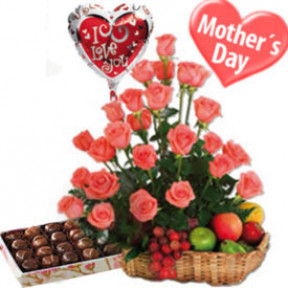 Delicious Mom's Day (12 Roses + Seasonal Fruits)