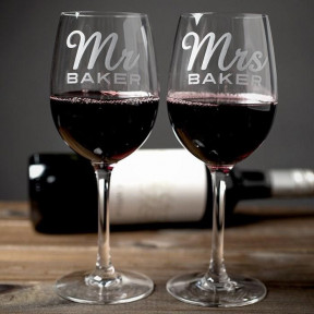 Personalised Mr & Mrs Set Of 2 Wine Glasses