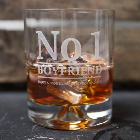 Engraved Stern Whisky Glass - No.1 Boyfriend/Husband