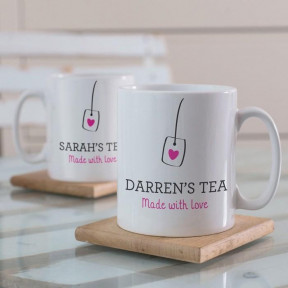 Personalised Set Of 2 Made With Love Tea Mugs