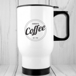 Personalised Travel Mug : Est - Coffee