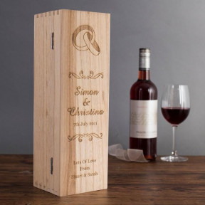 Personalised Wedding Rings Wooden Wine Box
