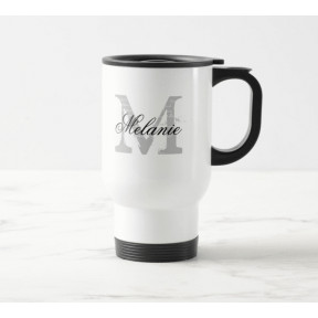 Personalised Travel Mug : Monogrammed Initial