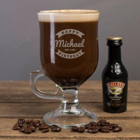 Personalised Irish Coffee Glass - Happy Birthday