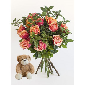 Orange Roses With A Small Teddy (Small)