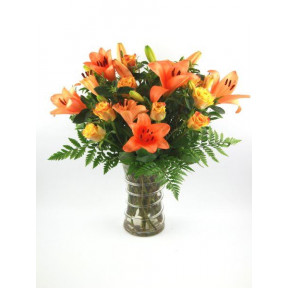 Lilies And Roses In A Vase (Small)