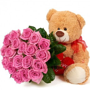 Huggalicious Bear with 19 Roses