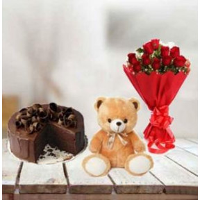 Cake, Flowers And Teddy (1/2 Kg Choco Cake, 12 Red Roses & 6 inch Teddy)