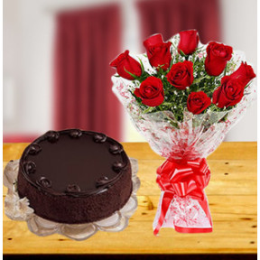 Chocolate Cake and  Roses (12 Red Roses & 1/2 Kg Chocolate Cake)