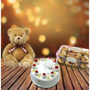 Cake, Chocolate And Teddy (1/2 Kg Cake + 6 inch Teddy + 16 pc Ferrero Rocher)