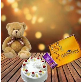 Cake, Teddy And Assorted Chocolates (1/2 Kg Cake + 6 inch Teddy + Assorted Chocolates)