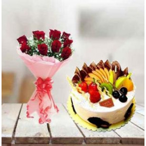 Fresh Fruit Cake and  Roses (1/2 Kg Fresh fruit Cake & 12 Roses)