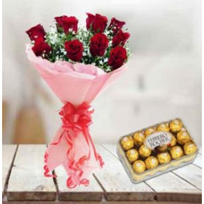Red Roses and  Ferrero Rocher (12 Red Roses & 16 pc Ferrero Rocher)