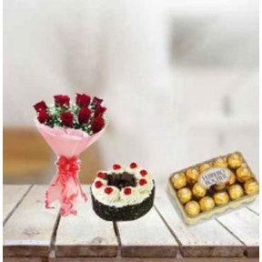 Red Roses, Cake And Ferrero Rocher (12 Red Roses, 1/2 Kg Cake and 16 Pcs Ferrero Rocher)