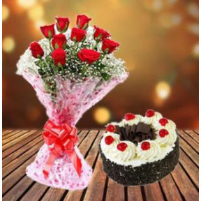 Blackforest Cake and  Red Roses (12 Red Roses & 1/2 Kg Blackforest Cake)