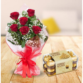 Red Roses And Ferrero Rocher (9 Red Roses and 16 pc Ferrero Rocher Box)