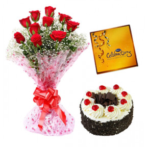 Black Forest Cake, Chocolate And Red Roses (1/2 Kg Black forest Cake, Cadbury Celebration Chocolate and 12 Red Roses)