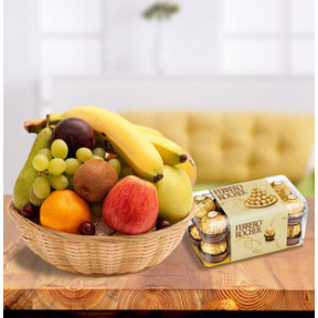 Fresh Fruits With Chocolates (3 Kg Fresh Fruits with 16 pc Ferrero Rocher)