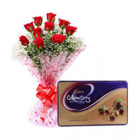 Rich Dry Fruit With Roses (12 Red Roses with Cadbury's Rich Dry Fruit (177 gm))