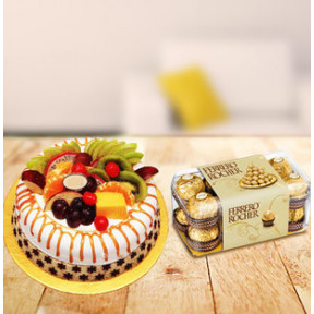 Fruity Choco Love (1/2 Kg Fresh Fruit Cake and 16 pc Ferrero Rocher Chocolate Box)