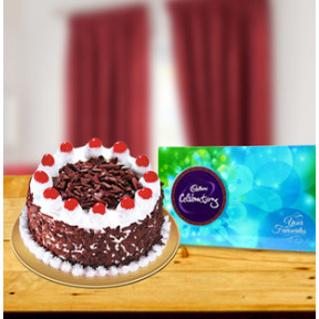 Blackforest Cake and  Cadbury Celebrations (1 Kg Blackforest Cake - Celebrations (120 gm))