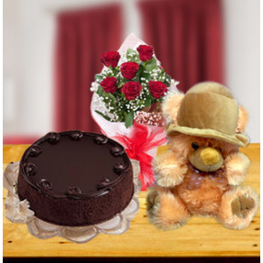 Expression Of Love Combo (12 Red Roses, 1/2 Kg Chocolate Cake and Teddy)