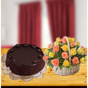 Colorful Love Combo (18 Mixed Roses Basket with 1/2 Kg Chocolate Cake)