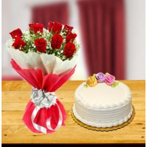 Exclusive Red Roses And Cake Combo (12 Exclusive Red Roses Bouquet with 1/2 Kg Vanilla Cake)